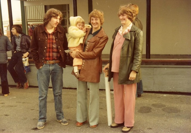 Bruce, Heather with Christina, and Rose at the Comox Airport, late 1970's - Mac Witzel photo