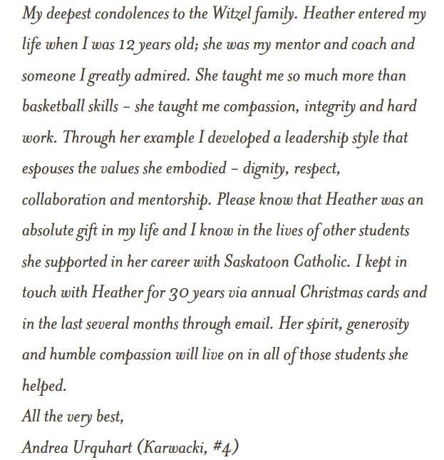 Condolence from Andrea Urquhart