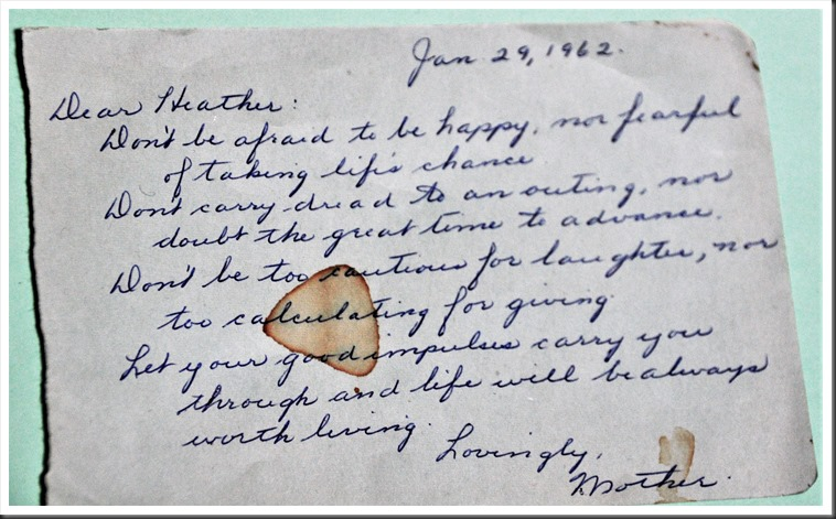Letter for heather from Mom (1962)