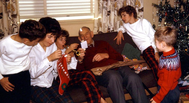 Witzel Christmas in the early 60's - Al, Fran Heather, Grandpa, Rose & bruce