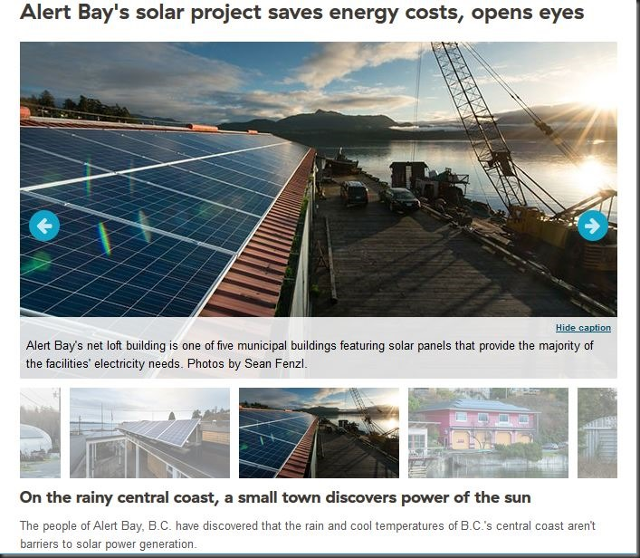 Alert Bay Solar Conversion - comliments from BC Hydro Power Smart Program