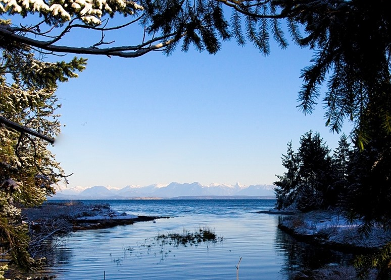 An estuarty entering the Salish Sea with the BC's Coastal Mountain Range in the distance - by Charles A.E. Brandt