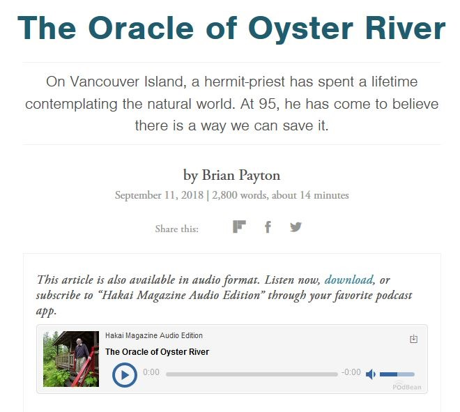 ARTICLE TO PONDER FOR THE NEW YEAR –THE ORACLE OF OYSTER