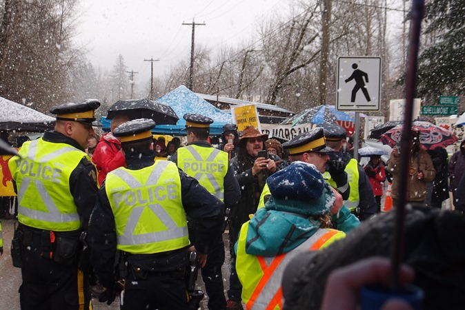 Kinder Morgan Pipeline protest (2) Burnaby BC, March 15, 2018 - brian voth photo