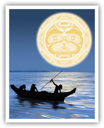 NATIVE CANOE & MOON