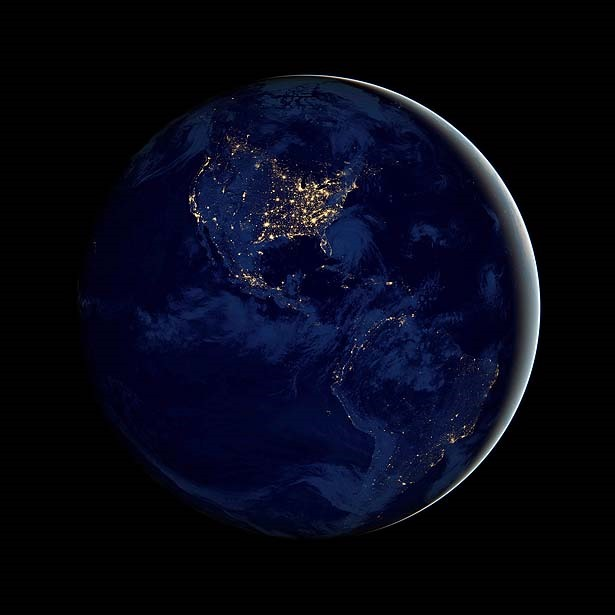 Nasa image of earth at night