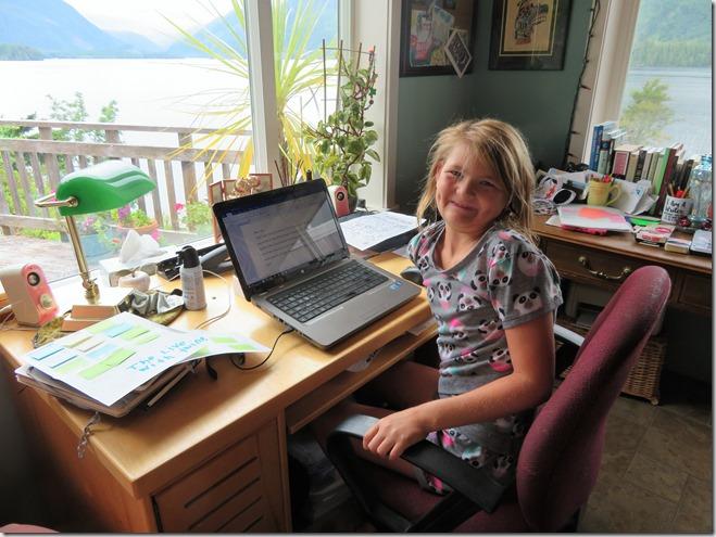 Emma at the desk