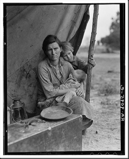 Migrant Mother (Florence Owens Thompson) dorothea lange photo taken March 13, 1936 Public domain US library of congress