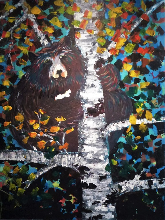 Painting 2 of Black Bear by Dean Vestal  - photo by  B. Witzel, Sept 5-2019