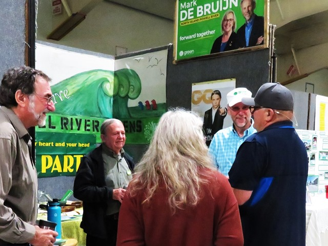 Green Party booth at Regional Fall Fair  Port McNeill Sept.7-8  with supporters and Mark de Bruijn- francis guenette photo