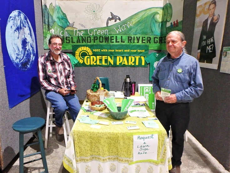 The green party booth at Regional Fall Fair Port McNeill, Sept 7-8 - Mary Ann Lammersen