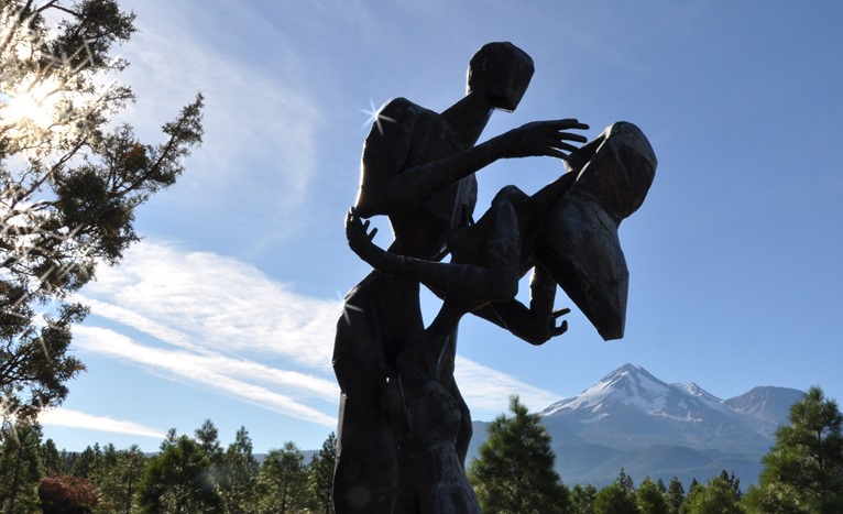58,000 Pines at the Living Memorial Sculptual Garden near Mt. Shasta - sculpted by Denis Smith, photo by Bruce Witzel  (through the luminary lens)