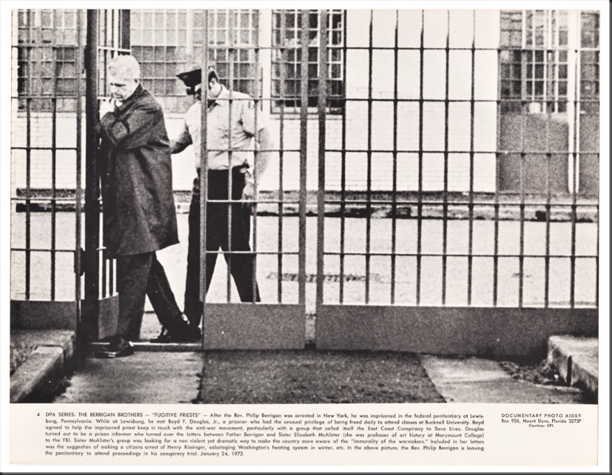 Phip Berrigan through prison gates - Cornell university Library Image