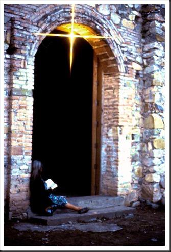 Campesino woman at a church in Zapotitlan del Rio Oaxaca Mexico - Bruce Witzel photo October 1990