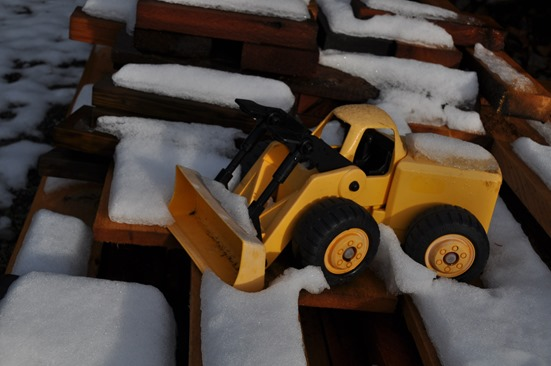 Toy truck on my lumber pile 2012-12-24 bruce witzel photo